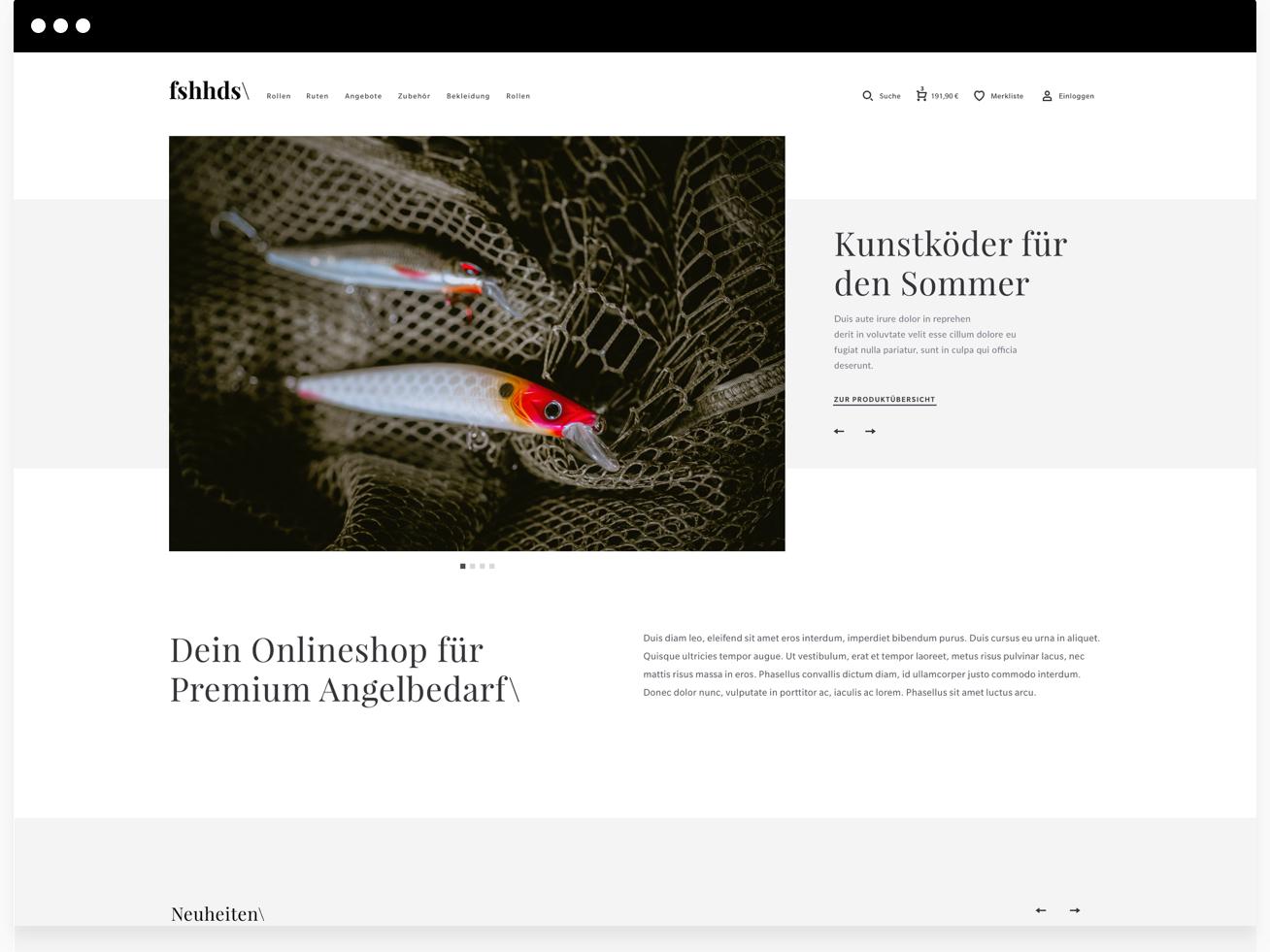 eCommerce Concept for fishing tackle flat web app typography design sketchapp graphicdesign minimal exploreui webdesign ux uidesign ui