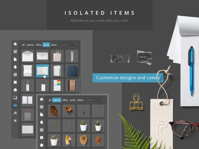Paper Panel - Item Preview presentation moodboards plugin item grid photoshop addon extension shadow overlay shadow mockup isolated items scene creator mockup creator creator moodboard branding mock-up mockup
