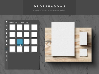 Paper Panel - Dropshadow Preview thumb grid ui interface topview flatlay paper shadow photoshop extension script presets realistic 3d dropshadow paper panel mockup mock-up