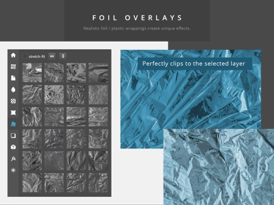 Paper Panel - Foil Overlay Preview flatlay mock-up crinkled wrinkles wrapping realistic mockup creator scene creator photography pattern texture silver foil foil reflection overlay foil mockup photoshop extension paper panel