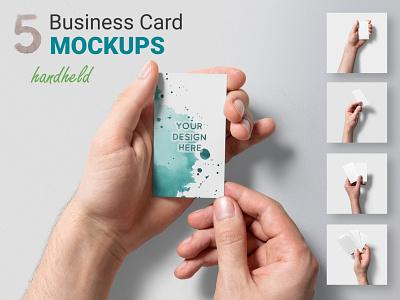 5 Handheld Business Card Mockups business card mockup bizcard business card visiting card hands paper handheld card realistic mockups branding mock-up mockup