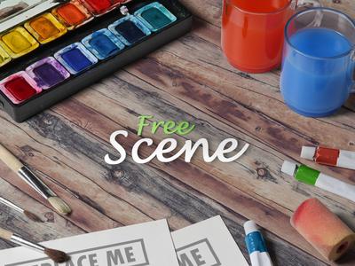 Artist Scene Mockup (free) art psd free colors hero paint creative watercolor mock-up mockup artist scene