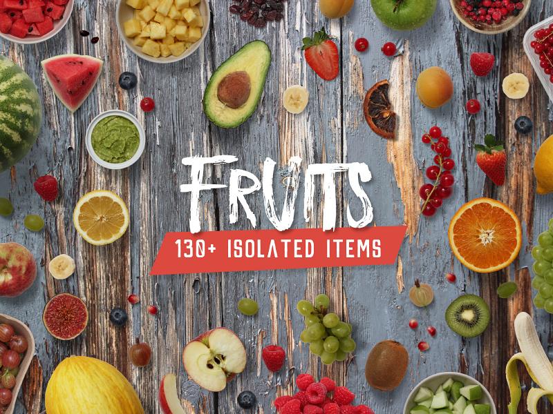 Fruits - Isolated Food Items objects apple fruity psd fresh creator isolated scene mock-up mockup fruits fruit