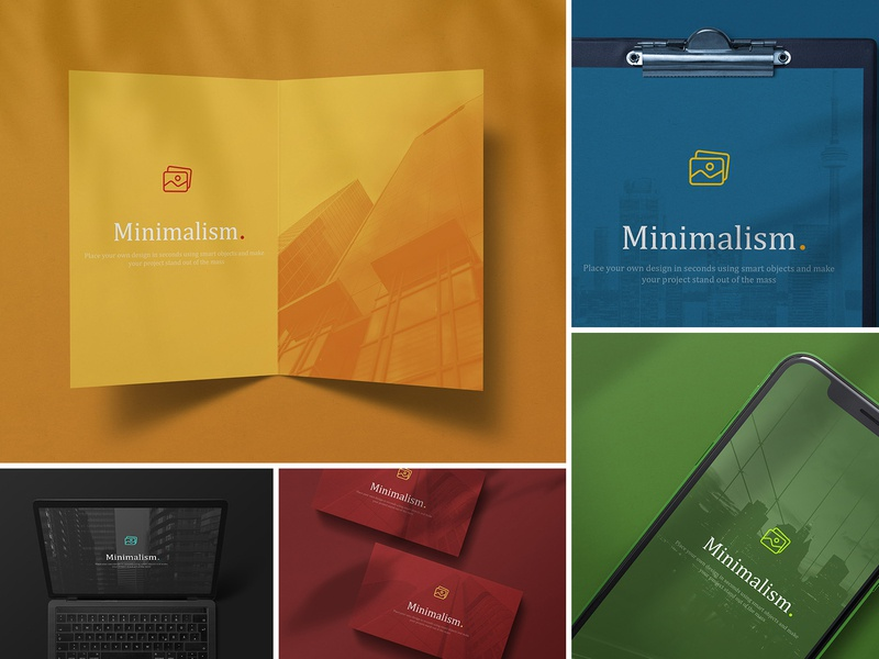 Minimalistic Branding Mockups minimalistic minimal black macbook businesscard clipboard ui userinterface uiux appdesign app unicolor shadows paper cards branding colorful colored mockups