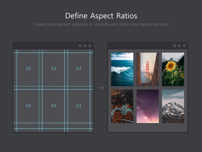 Better Grids - Create grids with fixed aspect ratio grid layout guide guidelines drag drop image frames script plugin zxp addon flat design layouting layout extension photoshop aspect ratio gallery grid