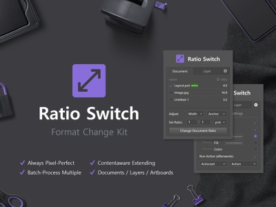 Ratio Switch - Format Change Kit batch processing ratio aspect ratio scene flatlay tabs interface dark design uiux ui panel panel dark ui extension zxp addon photoshop ratio switch