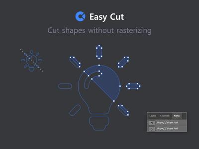 Cut Shapes in Photoshop without Rasterizing blue scissors path automate optimize workflow cutting layer cut photoshop addon extension plugin panel script addon split cut shapes easy cut