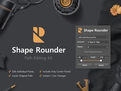 Shape Rounder - Path Editing Kit flatlay slider panel design interface ui dark vector graphics shape rounder path shapes rounded panel plugin extension addon photoshop