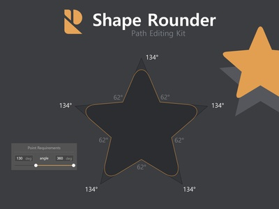 Shape Rounder - Example for filtering  points by angle curve soft edge rounding path star plugin extension photoshop addon script panel vectorgraphics addon photoshop shaperounder shape rounder