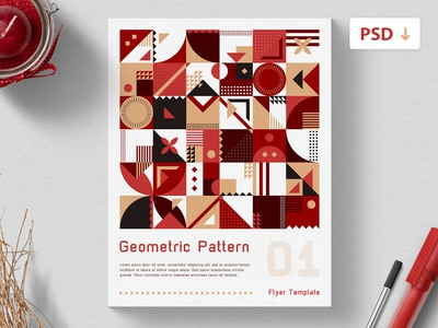 Free Flyer Template - Geometric Pattern flyer design branding color scheme red minimalistic triangles rectangles print template pattern polygon shapes geometric freebie freebie psd psd template free flyer flyer