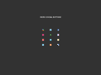 Micro Social Buttons micro social buttons set google plus twitter facebook dribbble forrst flickr youtube vimeo mail skype rss feed declicious