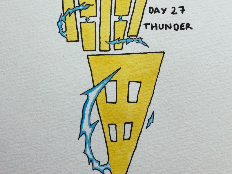 雷 Thunder japanese kanji inktober drawing calligraphy illustration thunder 雷