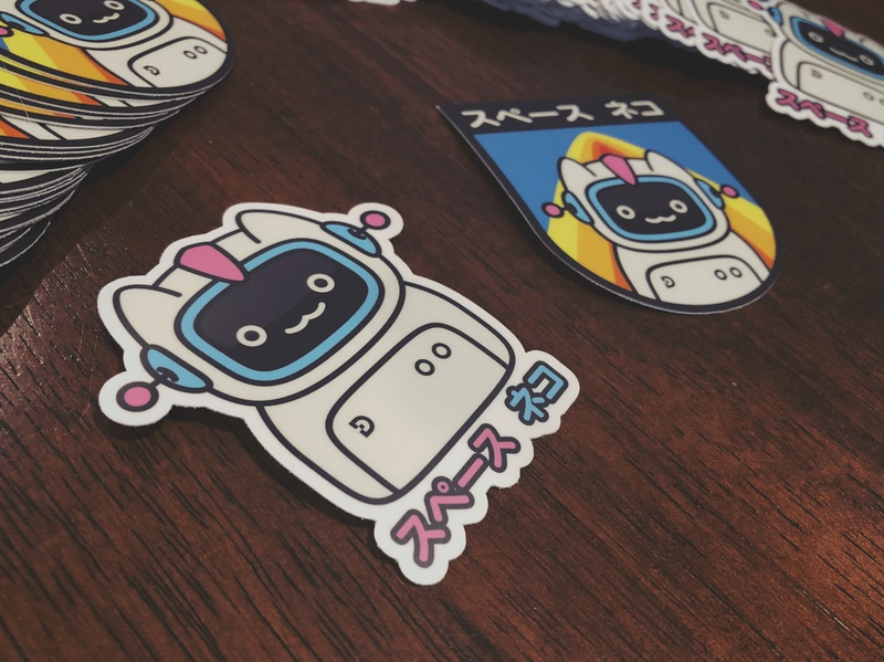 Spacecat Stickers stickermule sticker space katakana japanese illustration character cat astronaut