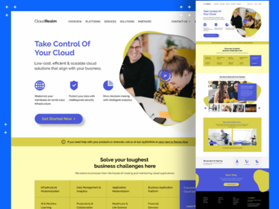 Cloud services website concept best corporate creative ui design art direction yellow white ux ui clean neat cloud services website web design