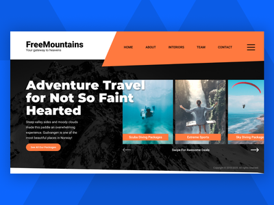 Adventure Travel Website Home Page web typography responsive responsive design website design ux adventurer travel agency travel art direction ui