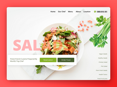 Restaurant serving Fresh & Healthy Meals website concept