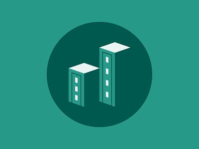 Institutional Demographics | Report Icon 3/4 chart bars building negative space icon illustrator design vector illustration