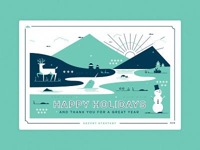 Ascent Christmas Card snow holiday christmas snowman banff postcard mountain illustration illustrator