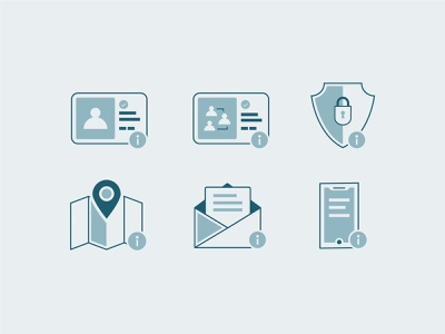 Icon WIP dashboard control illustrator illustration letter phone app location map group person shield lock security email phone line icon control panel