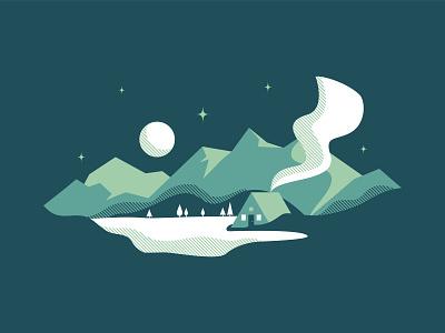 Mountain Scene pt. l halftone cabin mountain design vector illustrator illustration