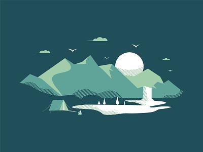 Mountain Scene pt. 2 waterfall tent vector flat designer illustrator illustration mountain design