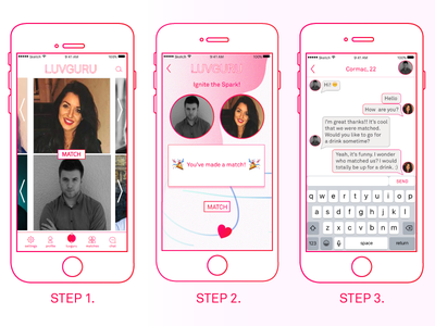 3 STEPS TO LUV graphic design typography ux design product design ui design uiux react native app layout app design app screen