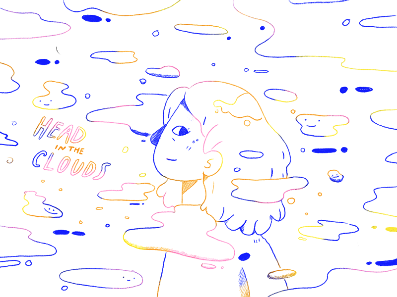 Head In The Clouds clouds doodle illustration