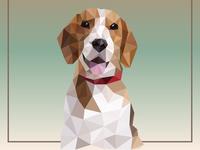Dog beagle. Design in polygonal style