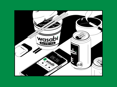Dokodemo Wasabi black and white flat vector mixtape ash tray beer wasabi chopsticks music phone can japan cup noodle ramen illustration