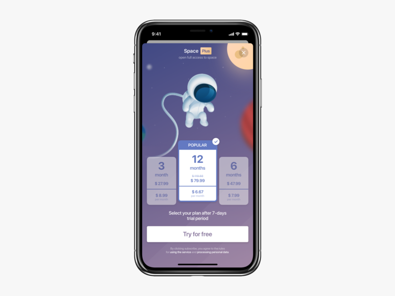 Subscription modal illustration modern space ux ui ios subscription subscribe