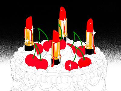 Lipstick Cake WIP beauty wedding cake surreal lipstick cherry cosmetics makeup illustration
