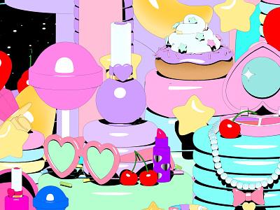 Still from a 90's animation beauty cosmetics makeup motion lipstick 90s donut sketchandtoon cinema4d