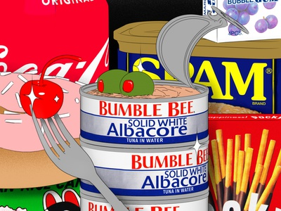 Pantry Items olives procreate foodillustrator foodillustration pantry grocery bumblebee pocky donut coca-cola cherry spam tuna cinema4d food
