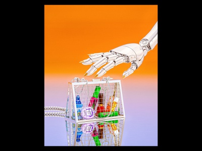 90's Glambot bag handbag retro 90s fashion gradient render redshift robot illustration cg 3d c4d cyborg cinema4d