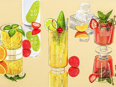 Soku Product Launch spirits liquor garnish cgi 3d redshift maxon c4d cinema4d retro illustration branding packaging alcohol beverage food cocktails