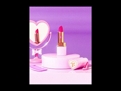 Trixie Cosmetics Render packaging design pink cute makeup render trixie mattel barbie lipstick cosmetics beauty retro maxon c4d 3d illustration cinema4d