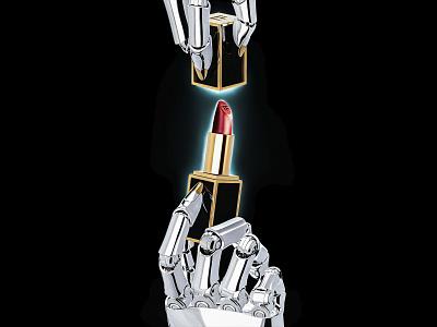 Robo Glambot : Tom Ford Lipstick cg render metal chrome glam tomford beauty cosmetics makeup lipstick cyborg robot design retro maxon 3d c4d illustration cinema4d