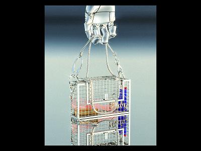 Martine Ali Handbag chrome retrofuturism futurism cyborg robot retro 90s beauty bag purse handbag fashion design render maxon c4d 3d illustration cinema4d