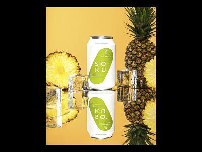 Soku Pineapple Flavor Render product ice food fruit pineapple seltzer drink liquor beverage packaging design retro render maxon 3d c4d illustration cinema4d