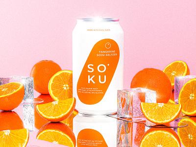 Soku Orange pink ice orange visualization product beer cocktail spirits alcohol beverage packaging design retro render maxon 3d c4d illustration cinema4d