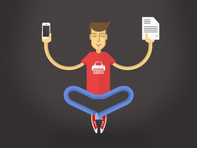 Printer Pro promo banner printer meditation icon guy