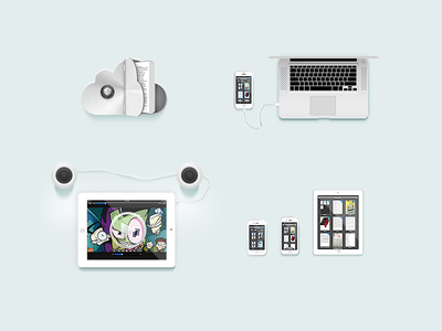 Some Readdle site illustrations  icons devices ipad macbook iphone illustration speakers ios icloud zim cloud invader