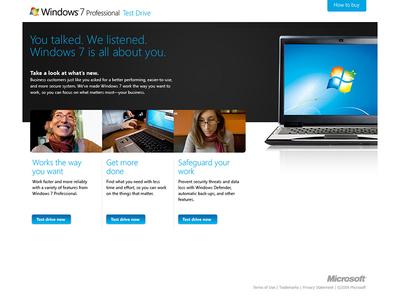 Windows 7 Walk-through Entrance Page