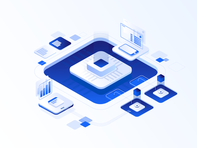 Isometric Illustration blue icon processor chip illustration isometric