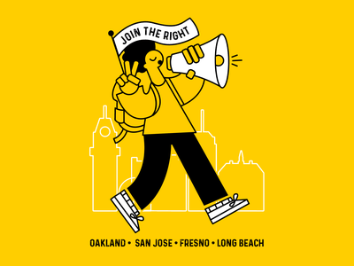 Join the Right yellow line art peace sign megaphone join the right california long beach fresno san jose oakland tshirtdesign