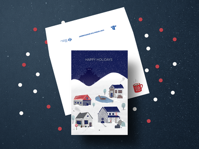 Holiday Card christmas envelope greeting card hills houses snow holiday card