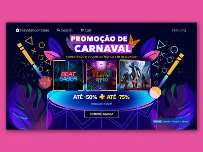 Promoção de Carnaval Campaign glow night life neon leaves drums colorful illustration campaign carnival