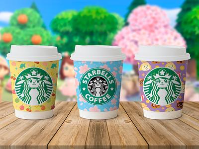 Starbells Coffee gaming colorful nintendo coffee cup pattern illustration animal crossing starbucks coffee