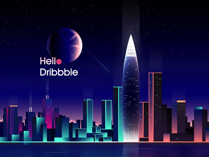 Hello Dribbble hello dribbble city night illustration design