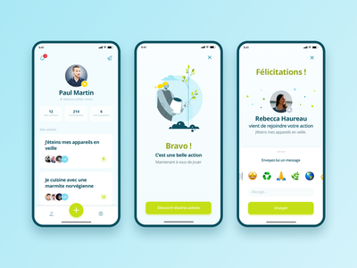 Wake App mobile designer mobile design cards ui emoji icons ux design ui design dashboard topbar navbar popin profile clean design illustration ux mobile app interface ui